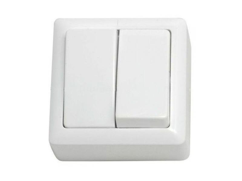 ХИТ Выключатель двухклавишный наружный 250В 6А белый (VA56-232-B)
