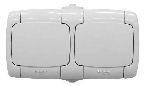 РОНДО Розетка двойная наружная с заземлением 250В 16А со шторками белая IP44 (RA16-227B-BI)