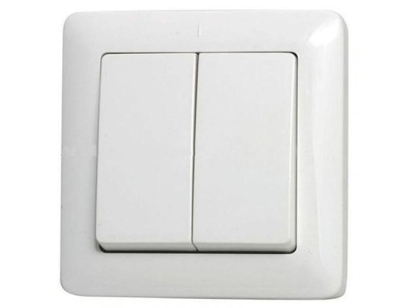 ХИТ Выключатель двухклавишный скрытый 250В 6А белый (VS56-234-B)