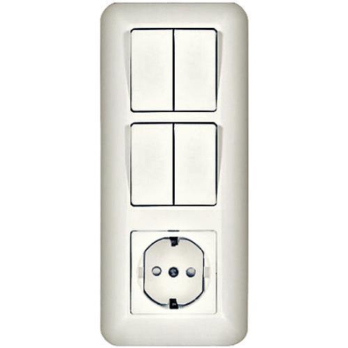 ПРИМА Блок 1 клавиша/2 клавиши/розетка с заземлением скрытый белая (BK2VR-006A-B)