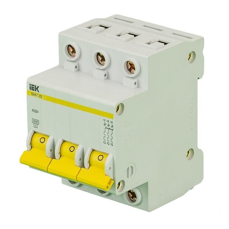 Выключатель автоматический трехполюсный 6А С ВА47-29 4.5кА